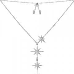 APM Monaco银双流星项链女士款锁骨链毛衣链吊坠AC3350OX